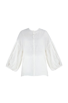 Dark cream embroidered shirt by The Grey Heron