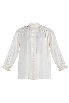 Off white macrame shirt by The Grey Heron