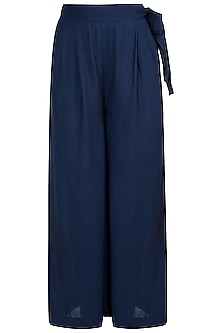 Navy blue flared pants with belt by The Grey Heron