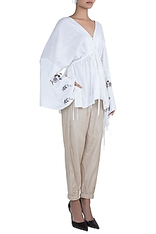 White embroidered kaftan top by The Grey Heron