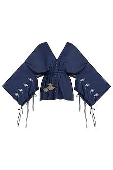 Navy blue embroidered cotton kaftan top by The Grey Heron