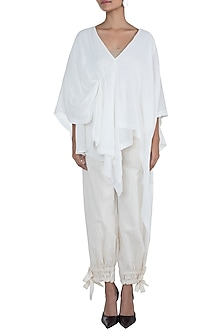 White Drape Pleated Top by The Grey Heron