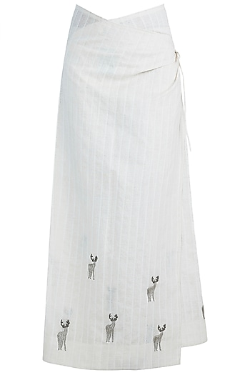 Beige embroidered layered wrap skirt by The Grey Heron