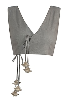 Khaki Green Tie Up Crop Top by The Grey Heron