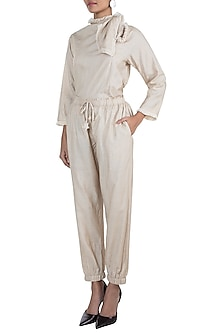 Beige Embroidered Top With Pants by The Grey Heron