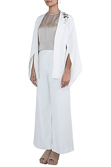 Off White Embroidered Cape Blazer by The Grey Heron