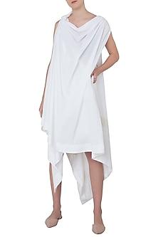 White One Shoulder Asymmetrical Dress by The Grey Heron