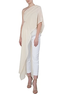 Dark Cream Long One Shoulder Net Top by The Grey Heron