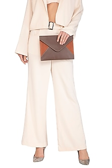 Rust Cross Body Clutch With Velcro Closure by The House of Ganges