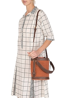 Rust Bucket Bag With Drawstring closure by The House of Ganges