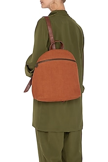 Rust Soft Jute Backpack by The House of Ganges