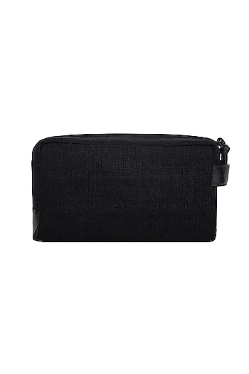 Black Faux Leather Pouch by The House of Ganges