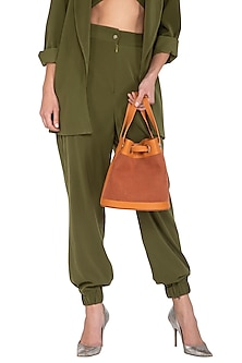 Rust Faux Leather Bucket Bag by The House of Ganges