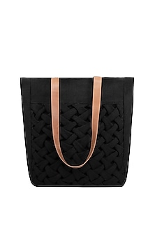 Black Art Worked Tote Bag by The House of Ganges
