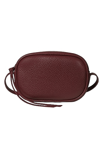 Maroon Crossbody Bag With Adjustable Straps by The House Of Ganges