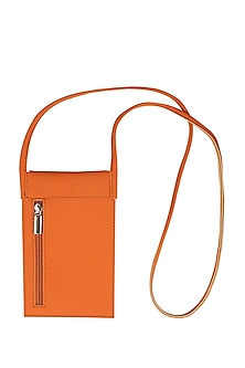 Tan Orange Mobile Case With Sling Handle by The House Of Ganges