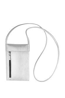 Silver Mobile Case With Sling Handle by The House Of Ganges