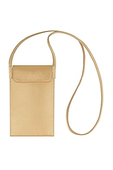 Latte Brown Mobile Case With Sling Handle by The House Of Ganges