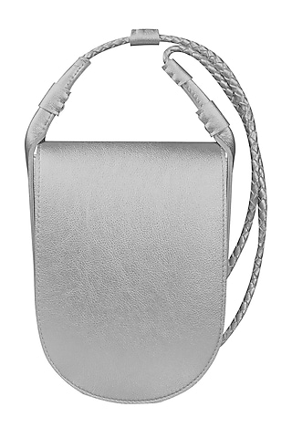 Silver Sling Bag With Button Closure by The House Of Ganges