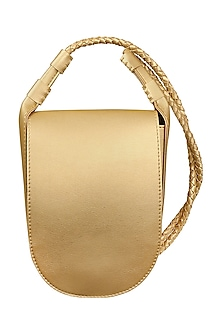 Gold Sling Bag With Button Closure by The House Of Ganges