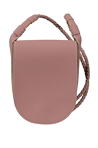 Blush Pink Sling Bag With Button Closure by The House Of Ganges