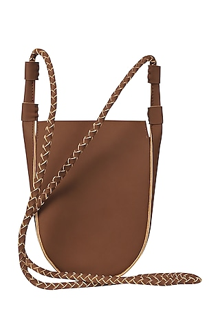 Rocky Road Brown Sling Bag With Button Closure by The House Of Ganges