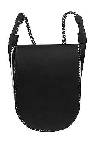 Pitch Black Sling Bag With Button Closure by The House Of Ganges