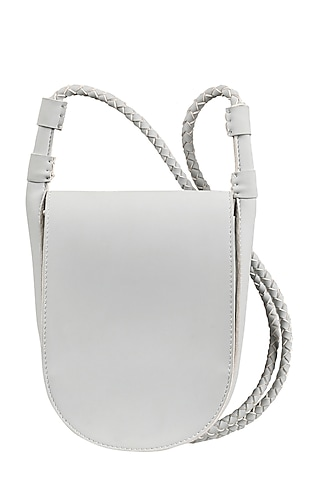 Ice White Sling Bag With Button Closure by The House Of Ganges