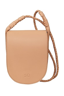 Latte Brown Sling Bag With Button Closure by The House Of Ganges