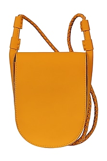 Amber Orange Sling Bag With Button Closure by The House Of Ganges