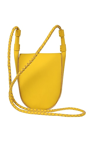 Sunshine Yellow Sling Bag With Button Closure by The House Of Ganges