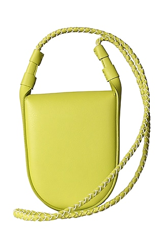 Lime Green Sling Bag With Button Closure by The House Of Ganges