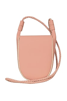 Blush Pink Faux Leather Sling Bag by The House Of Ganges