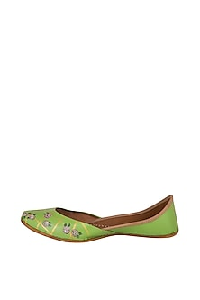 Olive Green Hand Painted & Handcrafted Juttis by The Haelli