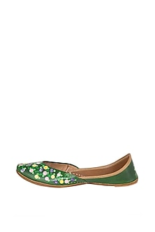 Emerald Green Hand Painted & Handcrafted Juttis by The Haelli