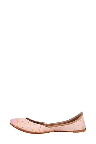 Baby Pink Genuine Leather Hand Painted Juttis by The Haelli