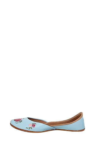 Powder Blue Genuine Leather Hand Painted Juttis by The Haelli