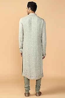 Jade Green Chikankari Embroidered Kurta Set by Tarun Tahiliani Men