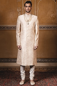 Oyster Beige Printed Sherwani by Tarun Tahiliani Men