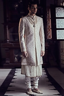 Ivory Embroidered Short Sherwani Set by Tarun Tahiliani Men