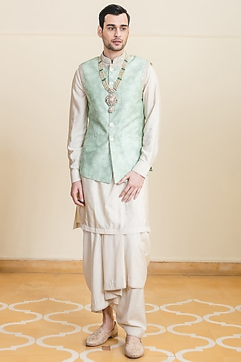 Jade Green Printed Bundi Jacket With Handkerchief by Tarun Tahiliani Men