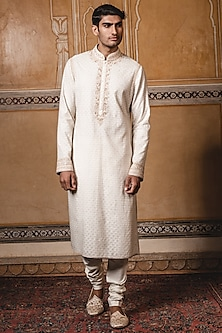 Ivory Embroidered Kurta Set by Tarun Tahiliani Men