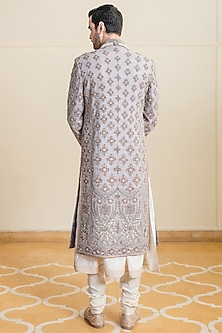 Oyster Beige Embroidered Silk Sherwani Set by Tarun Tahiliani Men