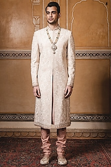 Ivory Resham Embroidered Sherwani Set by Tarun Tahiliani Men