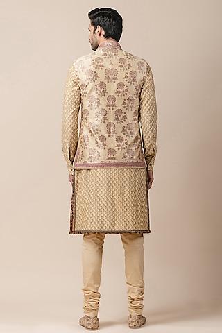 Golden Printed Bundi Jacket by Tarun Tahiliani Men