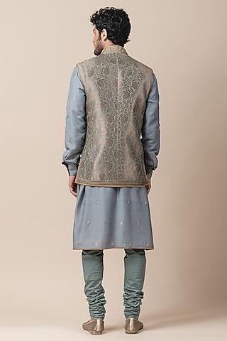 Jade Green Zardosi Bundi Jacket by Tarun Tahiliani Men