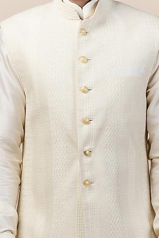 Ivory Katan Silk Textured Bundi Jacket by Tarun Tahiliani Men