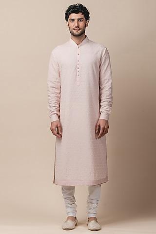 Pink & Ivory Kurta Set With Applique Work by Tarun Tahiliani Men