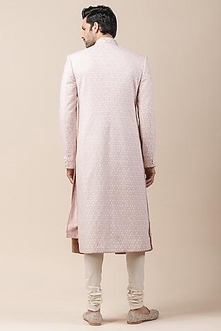 Ivory & Pink Sherwani Set With Applique Work by Tarun Tahiliani Men