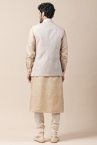 Ivory Golden Embroidered Bundi Jacket by Tarun Tahiliani Men
